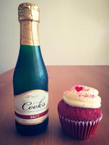 One of the many gifts we received from our incredible Airbnb guests - a red velvet cupcake and champagne for Valentine's Day!
