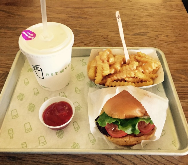 Ultimate Shake Shack meal: Shackburger and Peanut Butter Shake, but note to self, get the fries WITHOUT cheese next time!